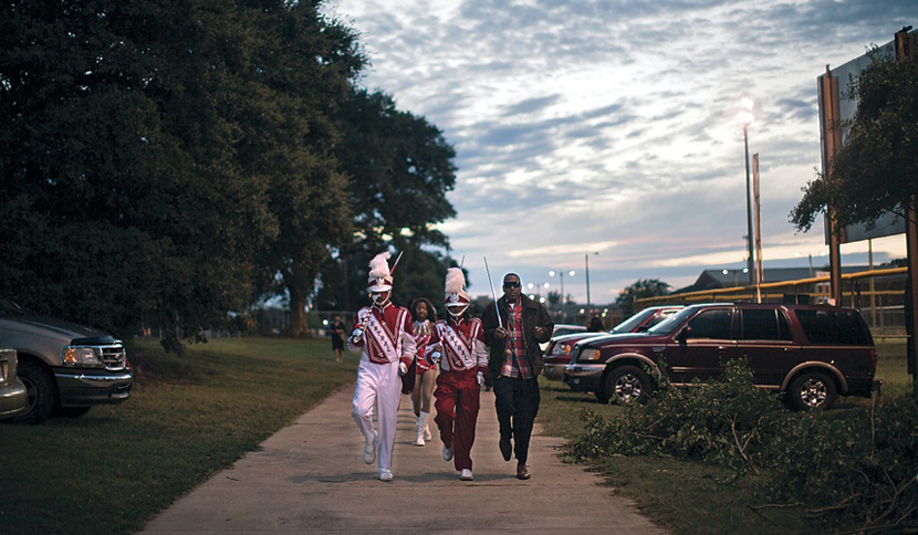 Central band members march to the school's homecoming
