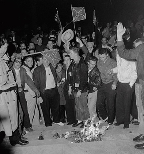 University of Alabama students demonstrate in 1956
