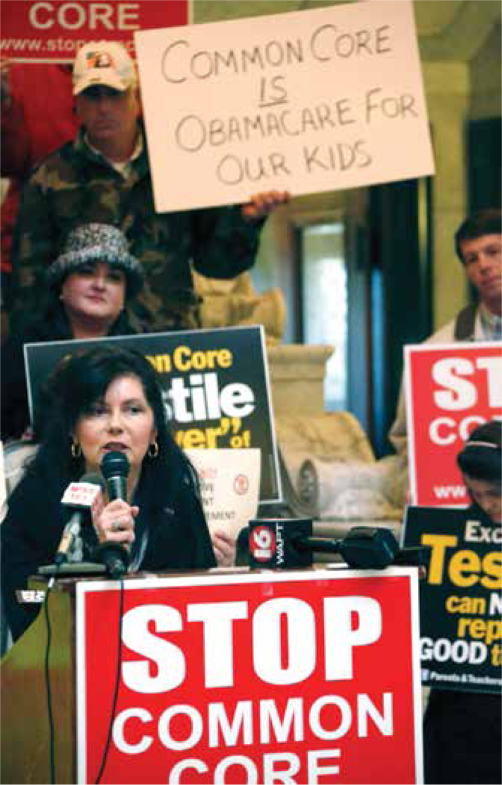 Mississippi state Sen. Angela Burks Hill joins Tea Party activists in a January rally.