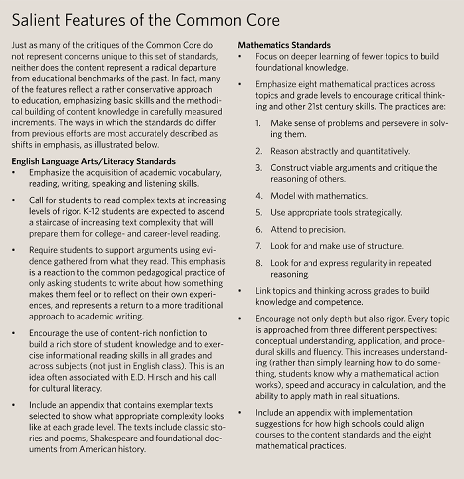 Salient Features of Common Core