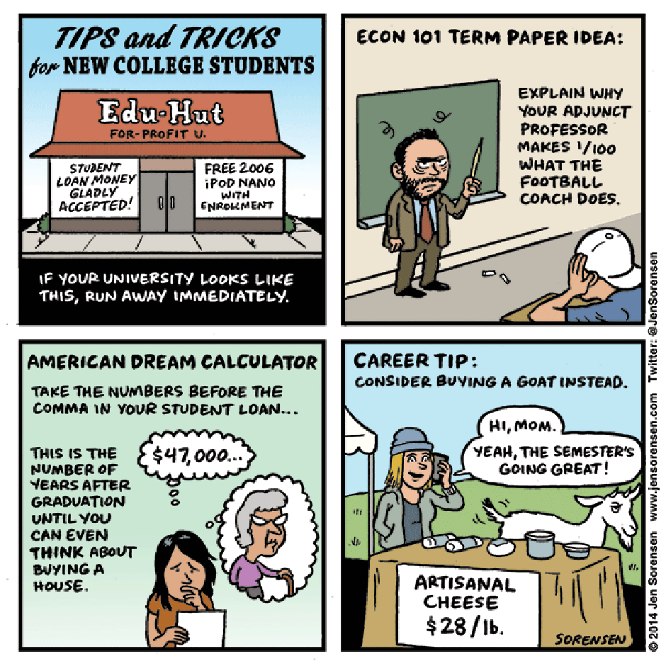 Tips and Tricks For College Students by Jen Sorensen
